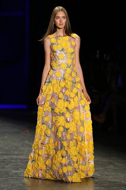 A Model Walks The Runway During Naeem Khan Fashion Show At Arc Skylight