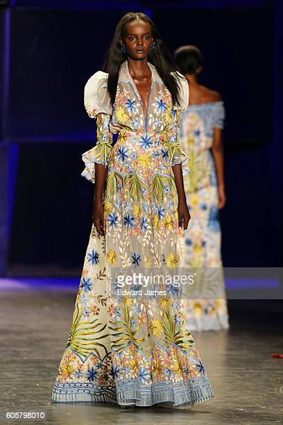 Model walks the runway during the Naeem Khan fashion show at The Arc, Skylight at Moynihan Station on September 14, 2016 in New York City.