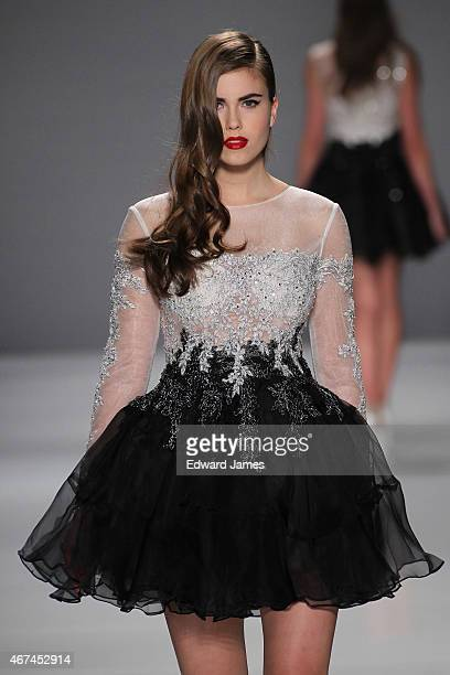 A model walks the runway during the Narces fashion show at David Pecaut Square on March 24 2015 in Toronto Canada