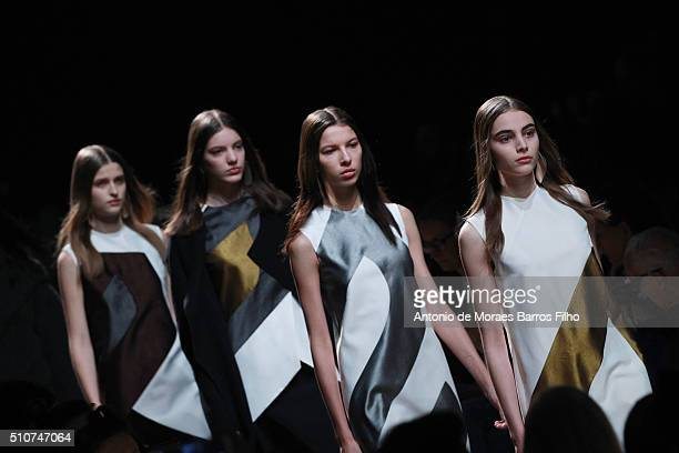 A model walks the runway during the Narciso Rodriguez show as a part of Fall 2016 New York Fashion Week at SIR Stage37 on February 16 2016 in New...