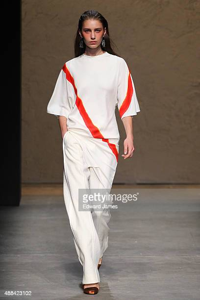 A model walks the runway during the Narciso Rodriguez Spring/Summer 2016 fashion show at SIR Stage37 on September 15 2015 in New York City