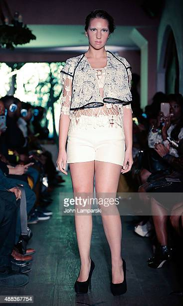 A model walks the runway during the Nathaniel Paul collection at the Spring 2016 New York Fashion Week at Event Space on September 15 2016 in New...