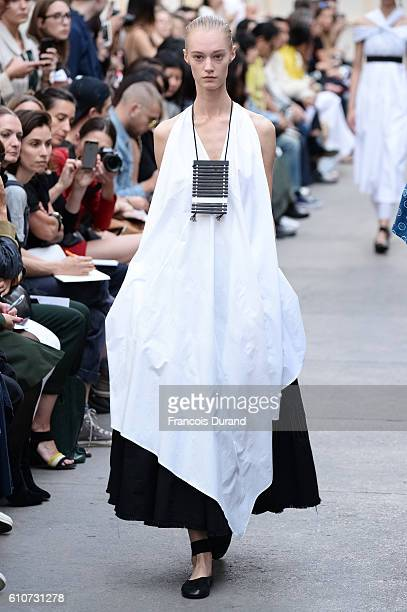 A model walks the runway during the Nehera show as part of the Paris Fashion Week Womenswear Spring/Summer 2017 on September 27 2016 in Paris France