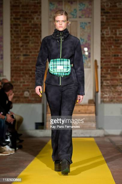 Model walks the runway during the Neith Nyer & DDP show as part of the Paris Fashion Week Womenswear Fall/Winter 2019/2020 on February 27, 2019 in...