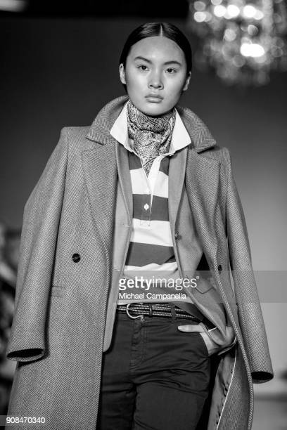 Model walks the runway during the New House show on the first day of Stockholm Fashion Week at the Grand Hotel on January 21, 2018 in Stockholm,...