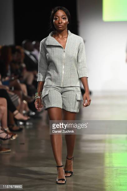 A model walks the runway during the New York Summer Fashion Explosion hosted by Teresa Giudice on June 22 2019 in New York City