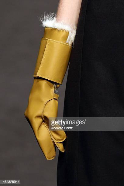 A model walks the runway during the 'Next Generation Alessandro Canti E Gianluca Viscomi' Show as part of Milan Fashion Week FW2015 on February 24...