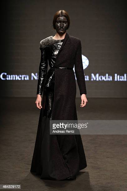 A model walks the runway during the 'Next Generation Claudio Cutugno' Show as part of Milan Fashion Week FW2015 on February 24 2015 in Milan Italy