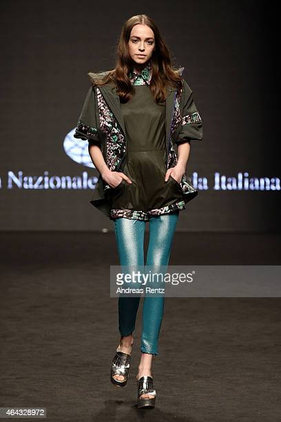 A model walks the runway during the 'Next Generation Deyse Cottini' Show as part of Milan Fashion Week FW2015 on February 24 2015 in Milan Italy