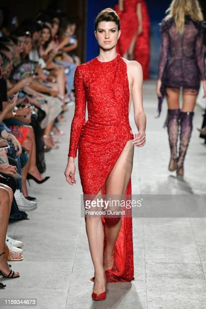 A model walks the runway during the Nicolas Jebran Haute Couture Fall/Winter 2019 2020 show as part of Paris Fashion Week on June 30 2019 in Paris...