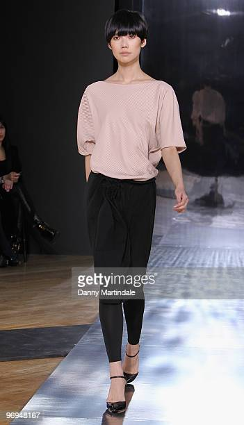 A model walks the runway during the Nicole Farhi show as part of London Fashion Week Autumn/Winter 2010 at The Royal Opera House on February 22 2010...