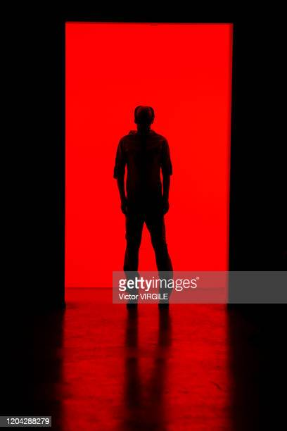 Model walks the runway during the Nihl Fall/Winter 2020-2021 fashion show as part of New York Fashion Week Men's on February 04, 2020 in New York...