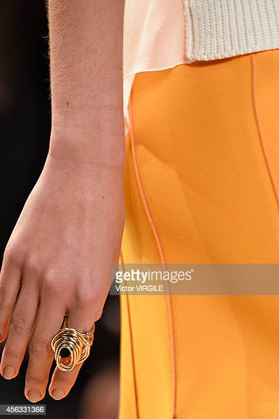 A model walks the runway during the Nina Ricci Ready to Wear show as part of the Paris Fashion Week Womenswear Spring/Summer 2015 on September 25...