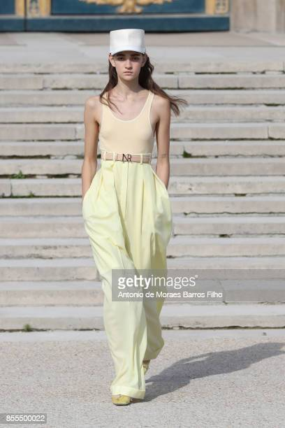 A model walks the runway during the Nina Ricci show as part of the Paris Fashion Week Womenswear Spring/Summer 2018 on September 29 2017 in Paris...