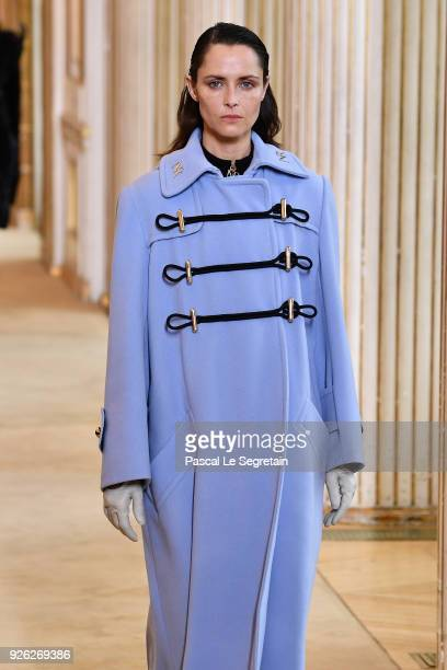 Model walks the runway during the Nina Ricci show as part of the Paris Fashion Week Womenswear Fall/Winter 2018/2019 on March 2, 2018 in Paris,...