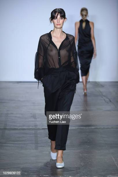 A model walks the runway during the Nonie fashion show during September 2018 New York Fashion Week at Industria Studios on September 9 2018 in New...