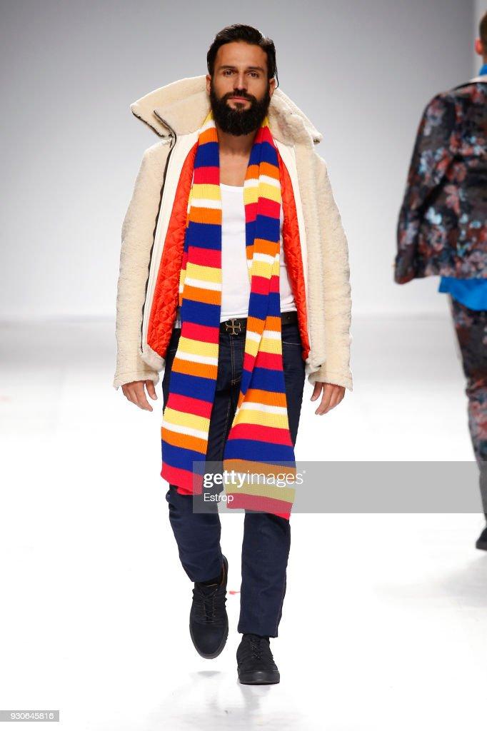 A model walks the runway during the Nuno Gama show as part of the Lisboa Fashion Week 'Moda Lisboa' 2018 on March 10, 2018 in Lisbon, Portugal.