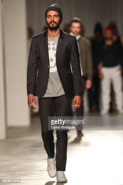 A model walks the runway during the Nuno Gama showing during Lisboa FashionWeek ModaLisboa day 3 at on March 12 2017 in Lisbon Portugal