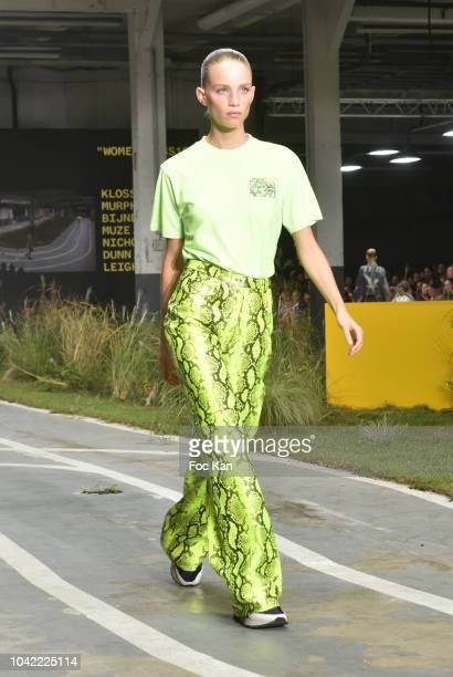 A model walks the runway during the Off White show as part of Paris Fashion Week Womenswear Spring/Summer 2019 on September 27 2018 in Paris France