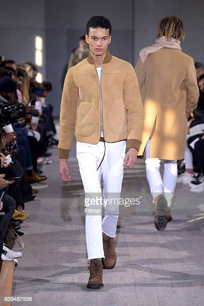 A model walks the runway during the Officine Generale designed by Pierre Mahéo Menswear Fall/Winter 20172018 show as part of Paris Fashion Week on...