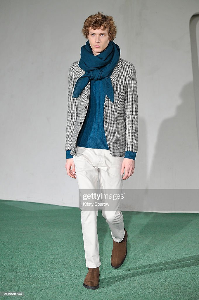A model walks the runway during the Officine Generale Menswear Fall/Winter 2016-2017 show as part of Paris Fashion Week on January 24, 2016 in Paris, France.