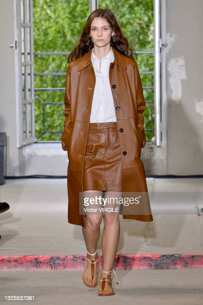 Model walks the runway during the Officine Generale Ready to Wear Spring/Summer 2022 fashion show as part of the Paris Men Fashion Week on June 25,...
