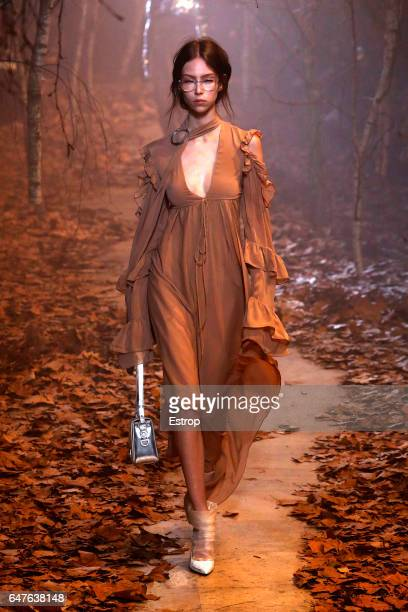 A model walks the runway during the OffWhite designed by Virgil Abloh show as part of the Paris Fashion Week Womenswear Fall/Winter 2017/2018 on...