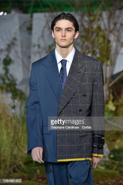 A model walks the runway during the OffWhite Menswear Fall Winter 2019/2020 show as part of Paris Fashion Week on January 16 2019 in Paris France