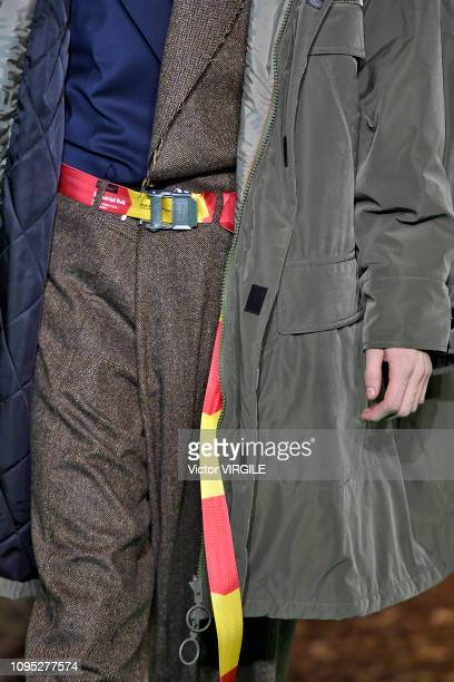 Model walks the runway during the Off-White Menswear Fall/Winter 2019-2020 fashion show as part of Paris Fashion Week on January 16, 2019 in Paris,...