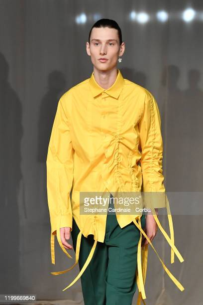 A model walks the runway during the OffWhite Menswear Fall/Winter 20202021 show as part of Paris Fashion Week on January 15 2020 in Paris France