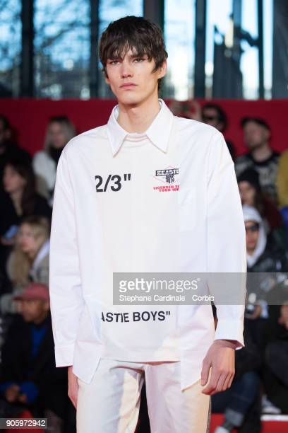 A model walks the runway during the Off/White Menswear Fall/Winter 20182019 show as part of Paris Fashion Week January 17 2018 in Paris France
