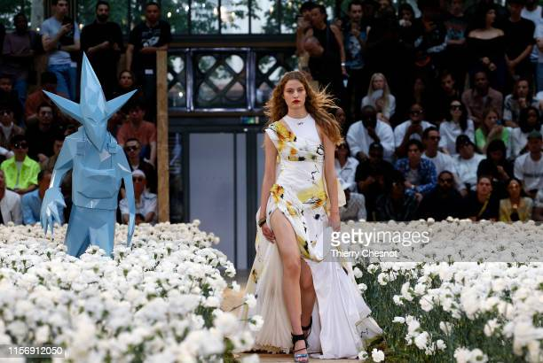 Model walks the runway during the Off-White Menswear Spring Summer 2020 show as part of Paris Fashion Week on June 19, 2019 in Paris, France.