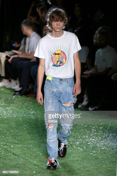 Model walks the runway during the Off-White Menswear Spring/Summer 2019 show as part of Paris Fashion Week on June 20, 2018 in Paris, France.