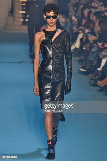A model walks the runway during the OffWhite Ready to Wear Fall/Winter 20182019 fashion show as part of the Paris Fashion Week Womenswear Fall/Winter...
