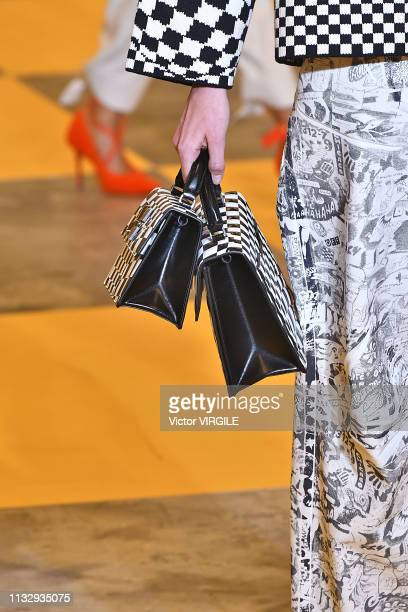 A model walks the runway during the OffWhite Ready to Wear fashion show as part of the Paris Fashion Week Womenswear Fall/Winter 2019/2020 on...