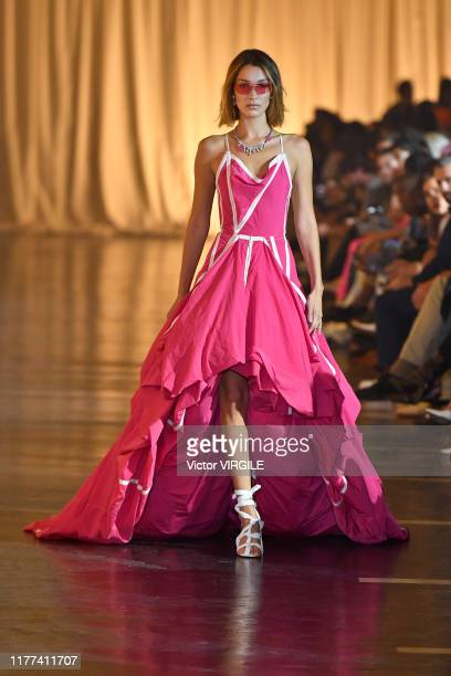A model walks the runway during the OffWhite Ready to Wear Spring/Summer 2020 fashion show as part of Paris Fashion Week on September 26 2019 in...