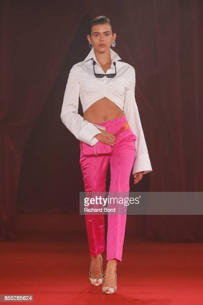 A model walks the runway during the Off/White show as part of Paris Fashion Week Womenswear Spring/Summer 2018 on September 28 2017 in Paris France