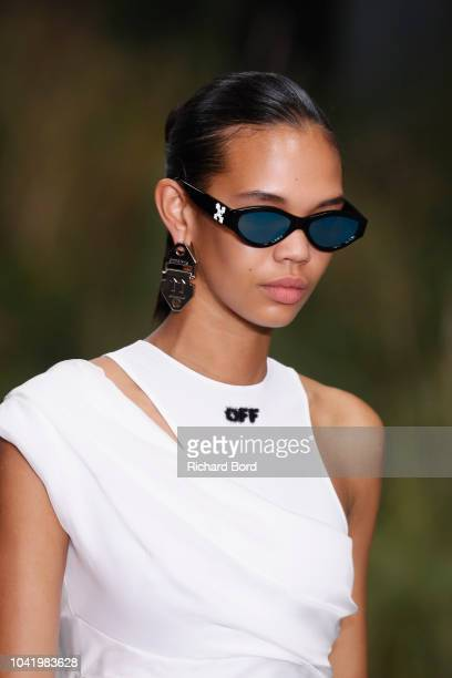 A model walks the runway during the OffWhite show as part of the Paris Fashion Week Womenswear Spring/Summer 2019 on September 27 2018 in Paris France