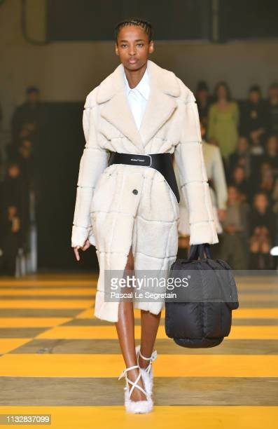 A model walks the runway during the OffWhite show as part of the Paris Fashion Week Womenswear Fall/Winter 2019/2020 on February 28 2019 in Paris...