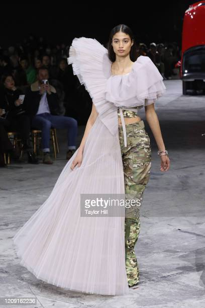 A model walks the runway during the OffWhite show as part of the Paris Fashion Week Womenswear Fall/Winter 2020/2021 on February 27 2020 in Paris...