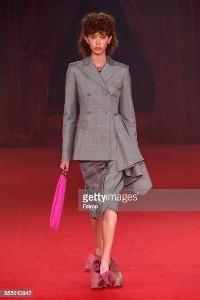 A model walks the runway during the Off/White show as part of the Paris Fashion Week Womenswear Spring/Summer 2018 on September 28 2017 in Paris...
