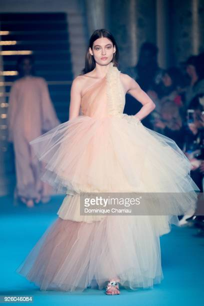 A model walks the runway during the OffWhite show as part of the Paris Fashion Week Womenswear Fall/Winter 2018/2019 on March 1 2018 in Paris France