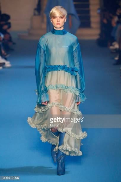 A model walks the runway during the OffWhite show as part of the Paris Fashion Week Womenswear Fall/Winter 2018/2019 on February 28 2018 in Paris...