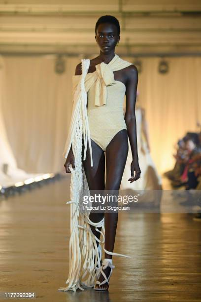 A model walks the runway during the OffWhite Womenswear Spring/Summer 2020 show as part of Paris Fashion Week on September 26 2019 in Paris France