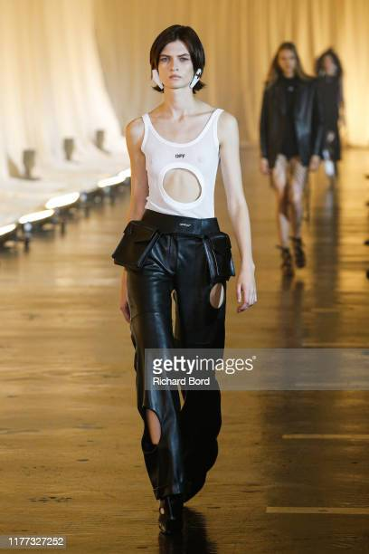 Model walks the runway during the Off-White Womenswear Spring/Summer 2020 show as part of Paris Fashion Week on September 26, 2019 in Paris, France.