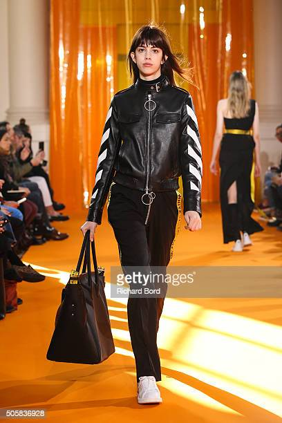 A model walks the runway during the OffWhite 'You Cut Me Off' Menswear Fall/Winter 20162017 show as part of Paris Fashion Week on January 20 2016 in...