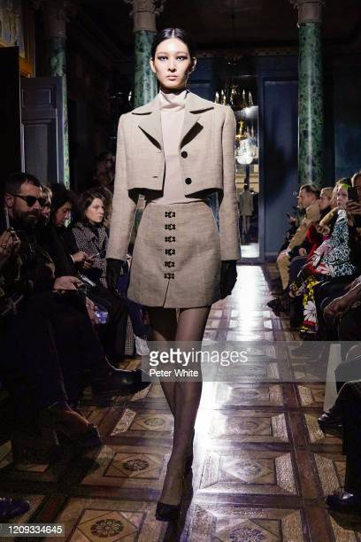 Model walks the runway during the Oliver Theyskens show as part of the Paris Fashion Week Womenswear Fall/Winter 2020/2021 on February 28, 2020 in...