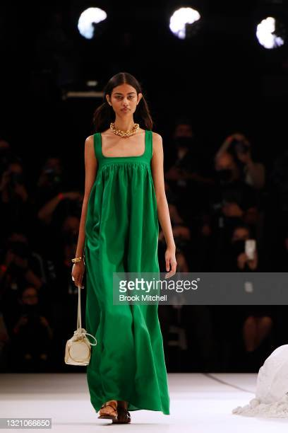 Model walks the runway during the Oroton show during Afterpay Australian Fashion Week 2021 Resort '22 Collections at Carriageworks on June 01, 2021...