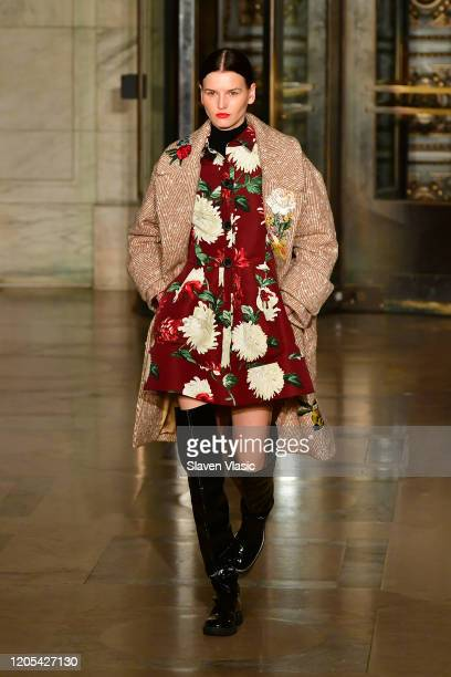 A model walks the runway during the Oscar De La Renta Show February 2020 New York Fashion Week The Shows at The New York Public Library on February...