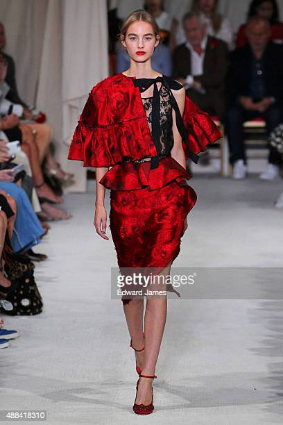 A model walks the runway during the Oscar de la Renta Spring/Summer 2016 fashion show on September 15 2015 in New York City